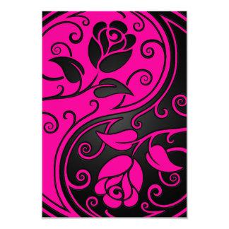 Rosas rosados y negros de Yin Yang Invitación 8,9 X 12,7 Cm