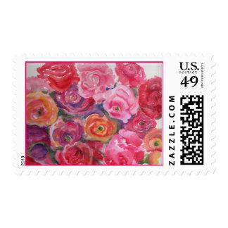 Rosas rosados y Peonies que pintan el sello