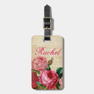Rosas rosados y rojos del vintage florales y etiquetas bolsa