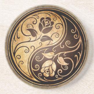 Rosas rugosos de Yin Yang Posavasos Diseño