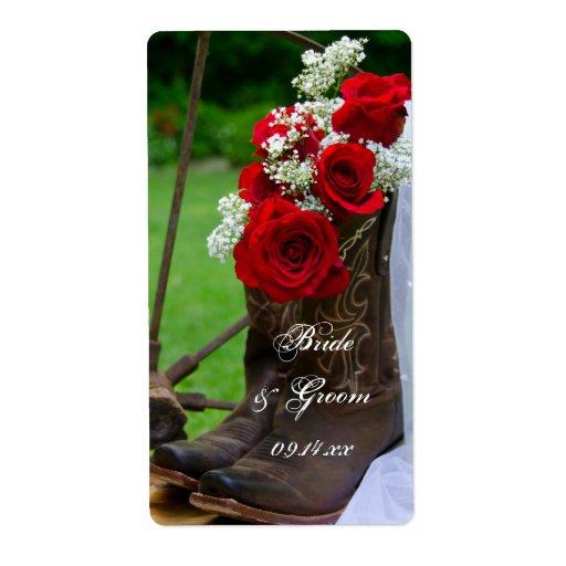 Rosas rústicos y boda del país de las botas de etiquetas de envío