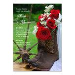 Rosas rústicos y boda del país de las botas de invitación 12,7 x 17,8 cm