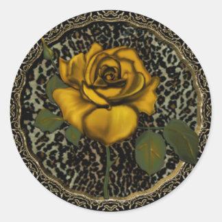 Rosas salvajes pegatina redonda