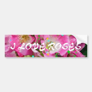 Rosas salvajes que casan tarjetas de felicitación pegatina para auto