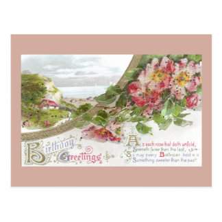 Rosas salvajes y cumpleaños del vintage de la postal