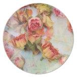 Rosas secos en vintage verde platos de comidas