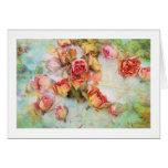 Rosas secos en vintage verde tarjeta pequeña