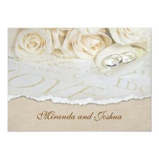 Rosas suaves del boda invitación 11,4 x 15,8 cm