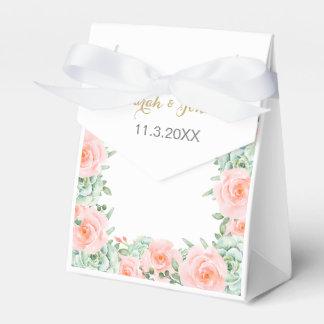 rosas suculentos del melocotón de la acuarela que cajas para detalles de boda