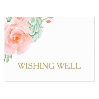 rosas suculentos del melocotón de la acuarela que tarjetas de visita grandes