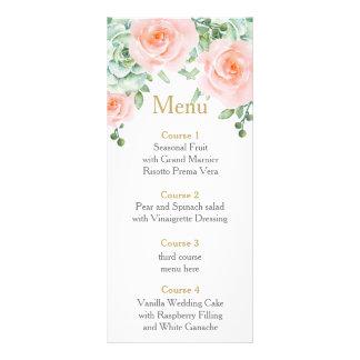 rosas suculentos del melocotón de la acuarela que tarjetas publicitarias a todo color