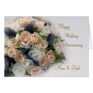 Rosas, tarjeta del aniversario de boda para la mam