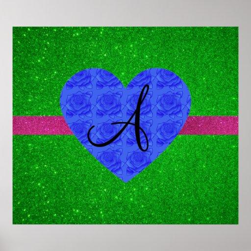 Rosas verdes del azul del monograma del brillo posters
