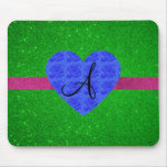 Rosas verdes del azul del monograma del brillo alfombrilla de raton