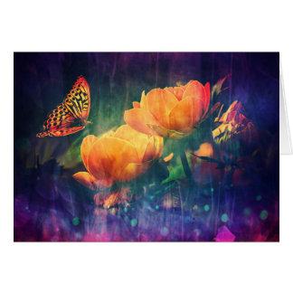 Rosas violetas y anaranjados bonitos de la tarjeta de felicitación