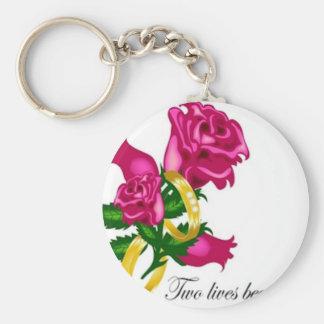 Rosas y alianzas de boda llavero redondo tipo pin