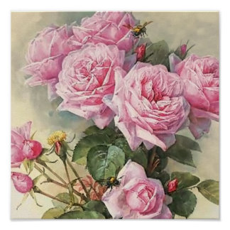 Rosas y bella arte de Bumblebees Paul de Longpre Póster