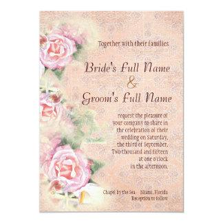 Rosas y calas en colores pastel que casan la invitación 12,7 x 17,8 cm