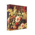 Rosas y caoba por la lona de Longpre Wrapped Impresión En Tela