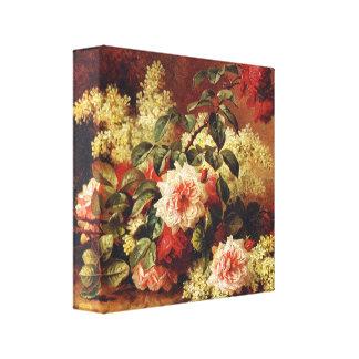 Rosas y caoba por la lona de Longpre Wrapped Impresion De Lienzo