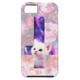 Rosas y caso cruzado invertido del gatito funda para iPhone SE/5/5s