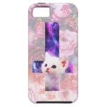 Rosas y caso cruzado invertido del gatito iPhone 5 funda