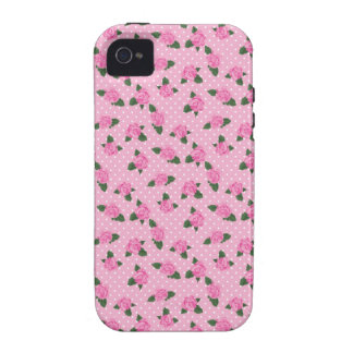 Rosas y caso rosados menudos del iphone 4S de los Vibe iPhone 4 Funda