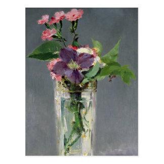 Rosas y Clematis en un florero cristalino, c.1882 Postales