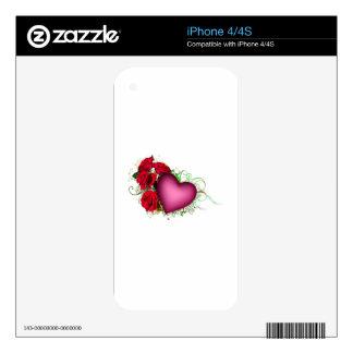 Rosas y corazón skins para eliPhone 4