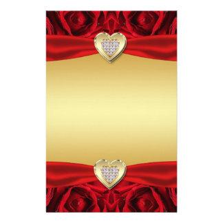 Rosas y corazones rojos, oro y boda negro papelería