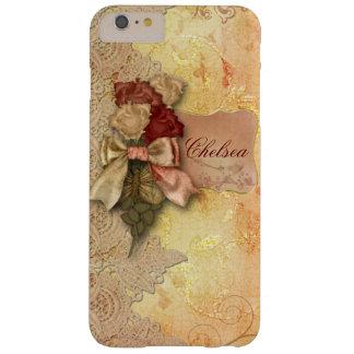 Rosas y cordón del oro del vintage personalizados funda de iPhone 6 plus barely there