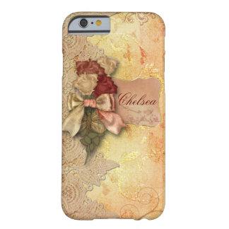 Rosas y cordón del oro del vintage personalizados funda para iPhone 6 barely there