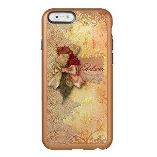 Rosas y cordón del oro del vintage personalizados funda para iPhone 6 plus incipio feather shine