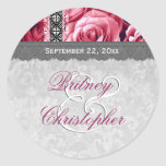 Rosas y cordón elegantes V10 del ROSA del favor de Etiqueta Redonda