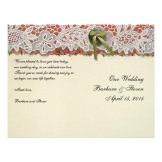 """Rosas y cordón rústicos de los regalos de boda del folleto 8.5"""" x 11"""""""