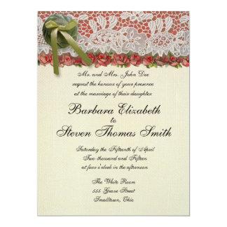 """Rosas y cordón rústicos de los regalos de boda del invitación 6.5"""" x 8.75"""""""