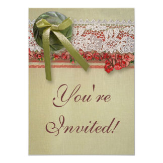 """Rosas y cordón rústicos de los regalos de boda del invitación 4.5"""" x 6.25"""""""