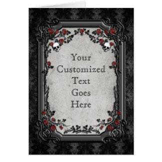 Rosas y cráneos góticos tarjeta de felicitación