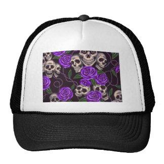 Rosas y cráneos púrpuras gorras