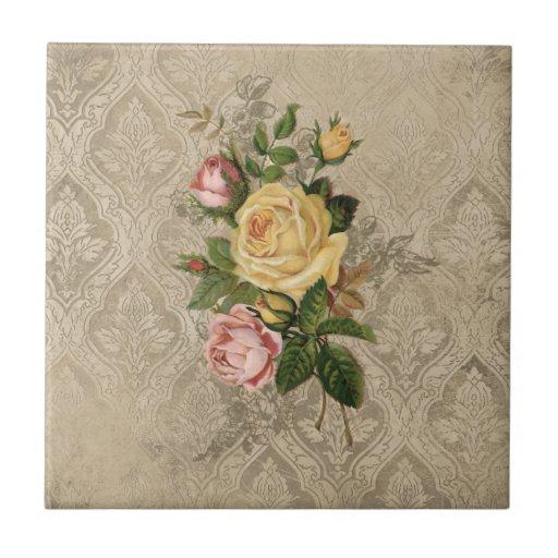Rosas y damasco del vintage azulejos ceramicos