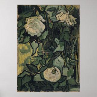 Rosas y escarabajo de Vincent van Gogh Póster