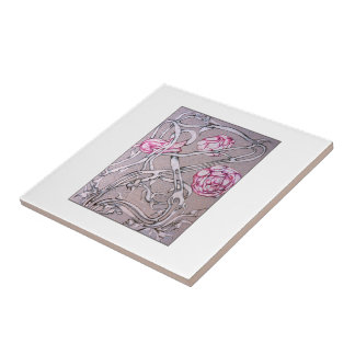 Rosas y espinas tejas  cerámicas
