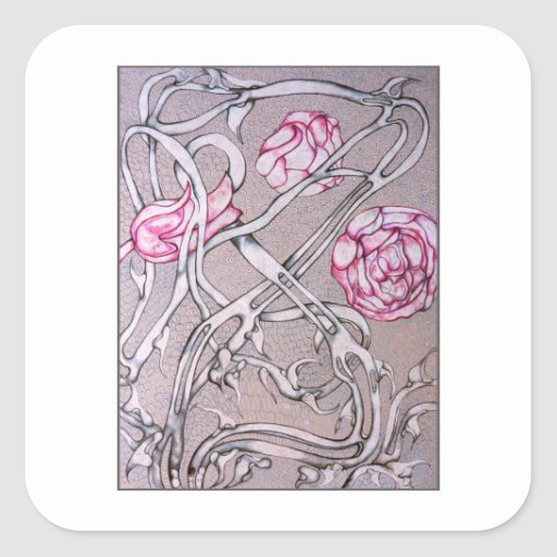 Rosas y espinas pegatina cuadrada