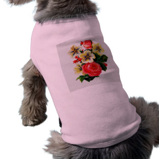 Rosas y flores de la mirada de la tela del vintage camisetas de perro