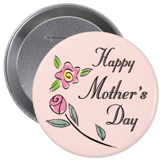Rosas y flores del botón del círculo del día de ma pin