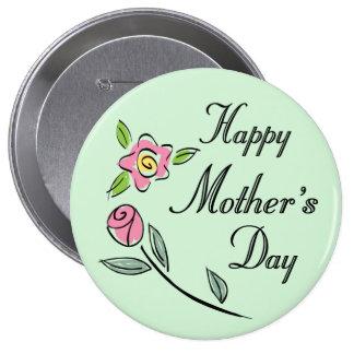 Rosas y flores del botón del círculo del día de ma pin redondo de 4 pulgadas