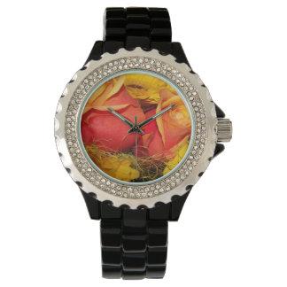 Rosas y flores reloj de mano
