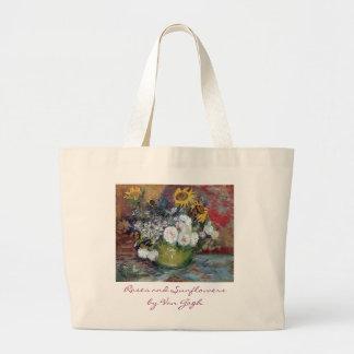 Rosas y girasoles de Van Gogh Bolsa De Tela Grande