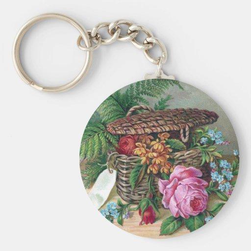 Rosas y helechos en Victorian del vintage de la ce Llavero Redondo Tipo Pin