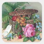 Rosas y helechos en Victorian del vintage de la ce Calcomania Cuadradas Personalizadas